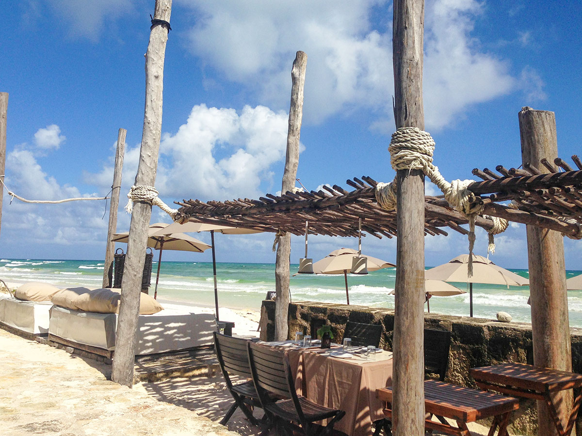beach front lounges at Coqui Coqui Tulum
