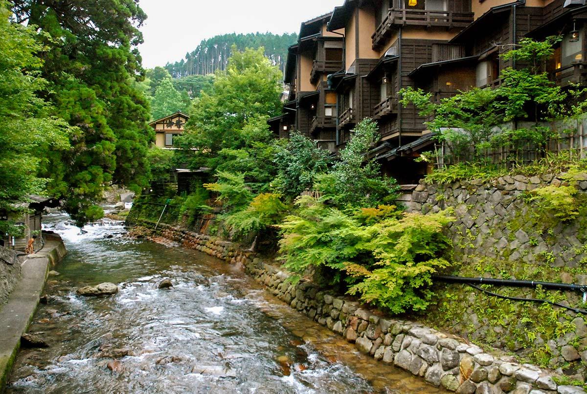 river through town